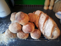 The white spelt rolls and one of the malted grain loaves that was shown in the videos.